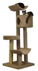Molly and Friends Fluffy's Favorite Premium Handmade 4-Tier Cat Tree with Sisal, Model 3L23, Beige